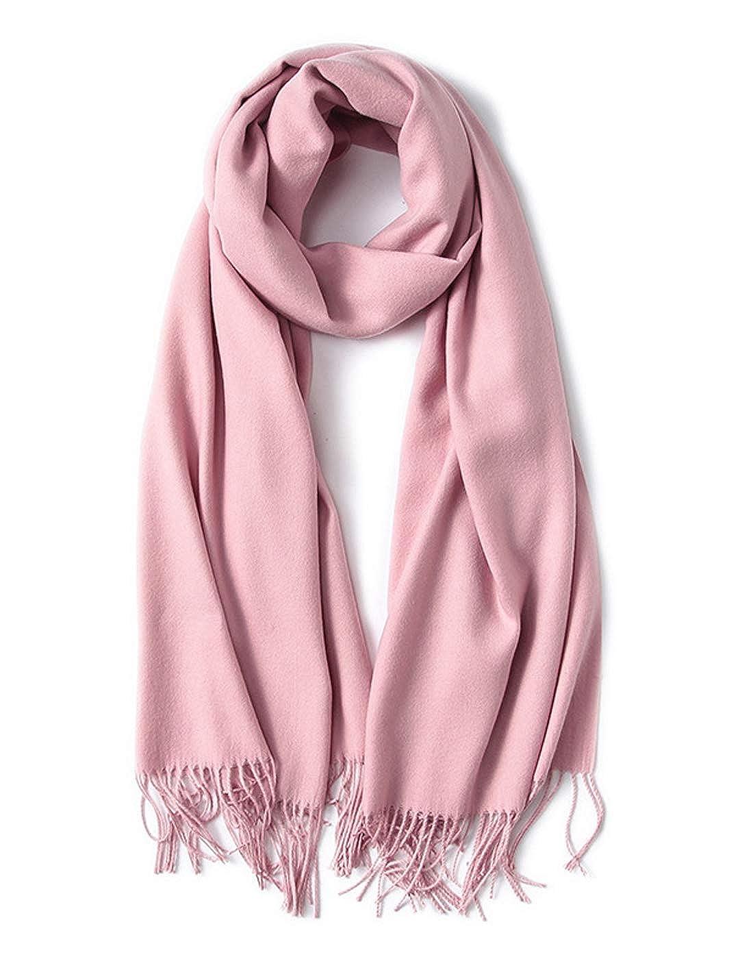 LARRONKETY Women's Large Soft Feel Pashmina Blankets Shawls Wraps Tassel Warm Winter Scarf Solid Colors TOWJ00201C20