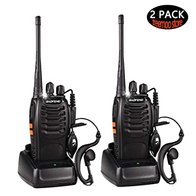 Walkie Talkies for Adults Long Range 16 Channel Rechargeable Two Way Radios with Original Earpiece Li-ion Battery and Charger (Pack of 2)