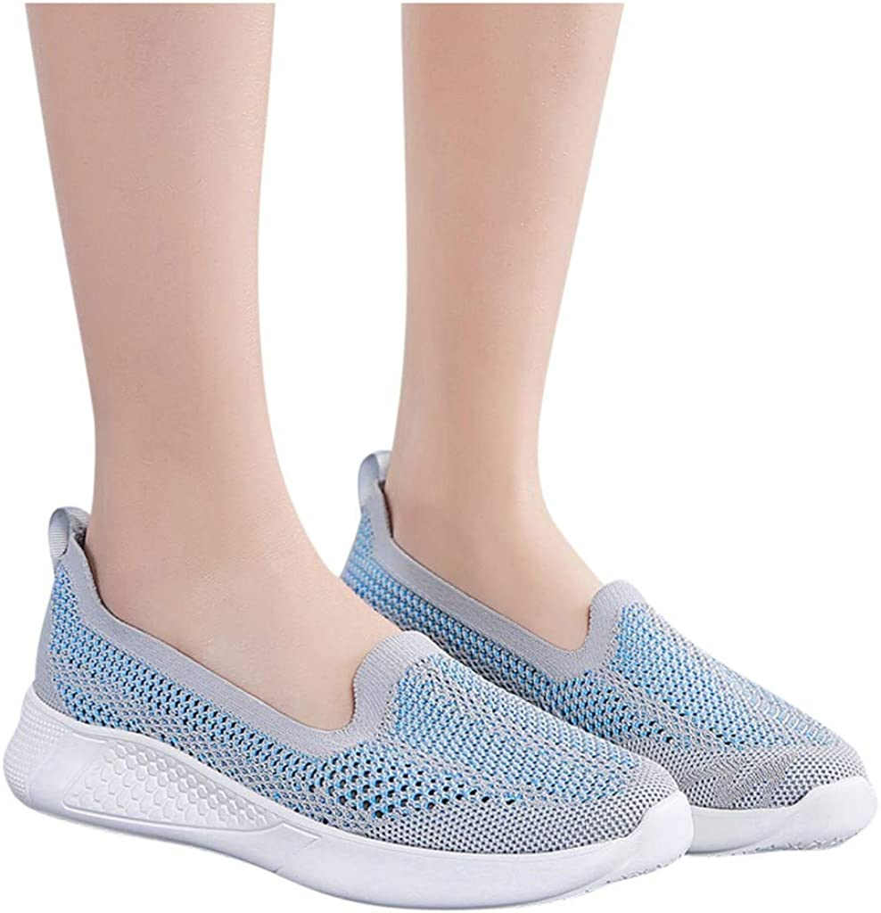 Women Casual Slip Loafer Flat Respctful✿ Women Hollow Out mesh Lighweight Sneakers Comfy Knit Wedge Slip on Shoes