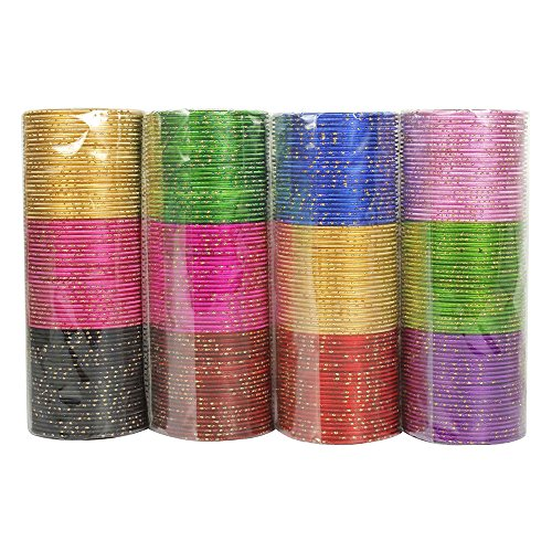 (MUCHMORE Bollywood Fashion Plain Indian Bangles Box 12 Color Partywear Bangles Traditional Jewelry (2.4 Inches))