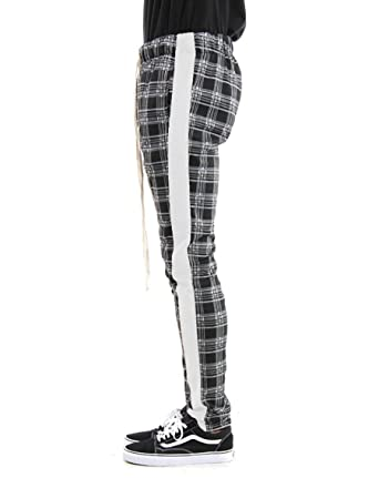 aaa7cda7f Men's Ankle Zip Long Drawstring Side Stripe Plaid Track Pants at Amazon  Men's Clothing store: