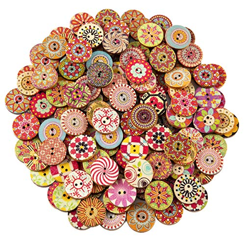 Biubee 200 pcs Wooden Buttons Mixed Color Pattern 2 Holes Wood Buttons for Sewing Art Craft DIY Suppliers 20mm