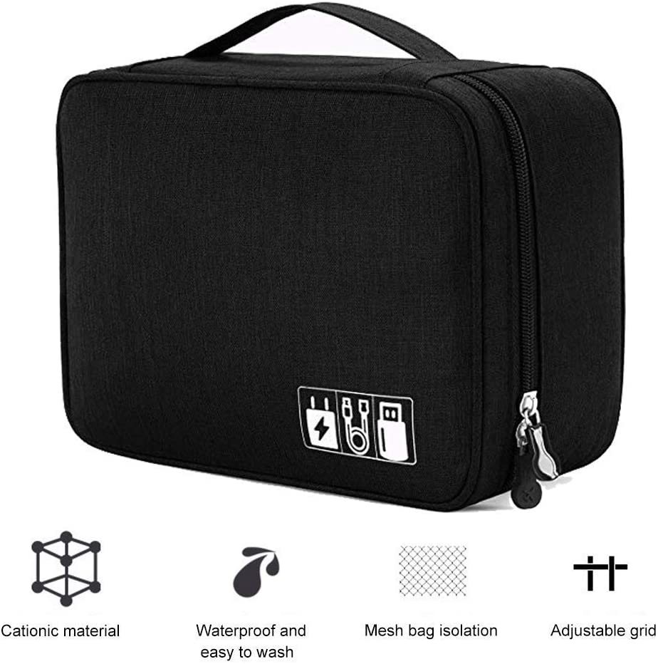 SD Card Charger 2Layer Black Black USB Phone Travel Cable orgnaizer Electronic Organizer Travel Universal Cable Organizer Electronics Accessories Cases for Cable