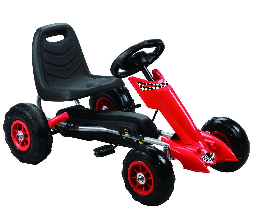 Vroom Rider Zoom Pedal Go-Kart Ride Ons with Pneumatic Tire, Red