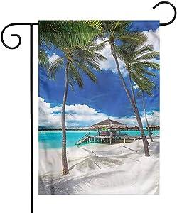 "WinfreyDecor Beach Garden Flag Summer Season Sky and Trees Premium Material 12""x18"""