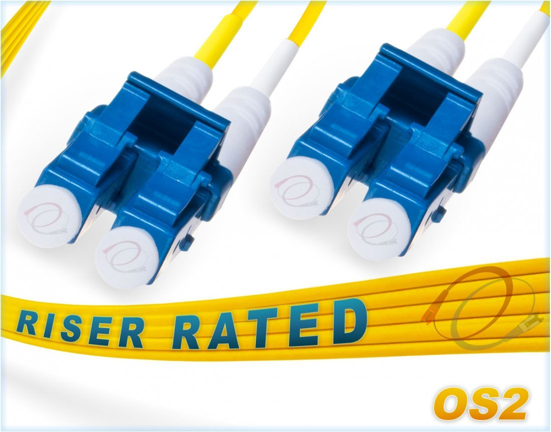 FiberCablesDirect - 85M OS2 LC LC Fiber Patch Cable | Duplex 9/125 LC to LC Singlemode Jumper 85 Meter (278.87ft) | Length Options: 0.5M-300M | ofnr lc-lc Single-Mode sfp lc/lc sm dx Yellow Zip-Cord