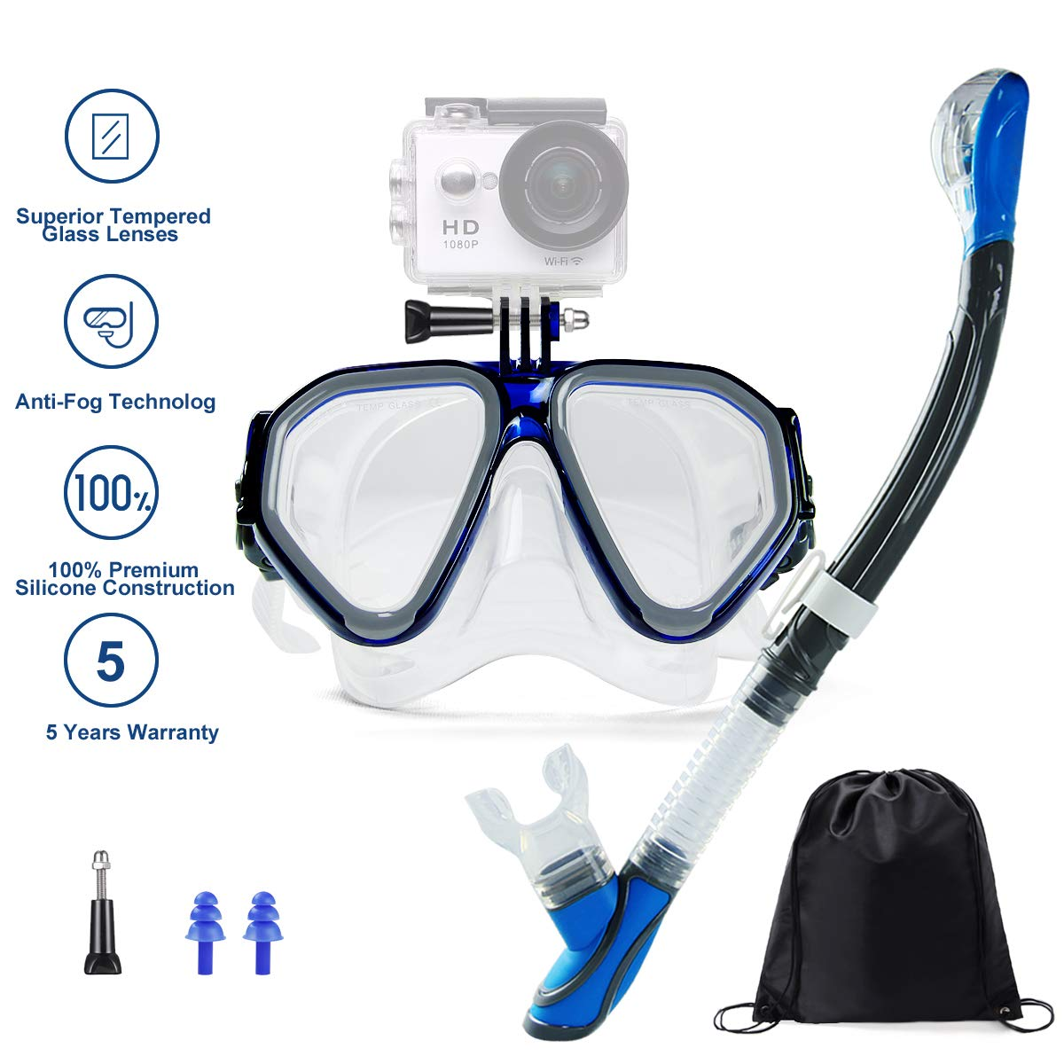 Ufanore Snorkel Set, Dry Top Snorkel, Panoramic Wide View, Free Breathing Anti-Leak&Anti-Fog, Scuba Diving Mask for Adults&Youth by Ufanore