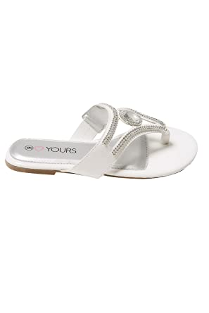 e5ca1915b0c Wide Fit Women s Diamante Embellished Toe Post Flat Sandals In True Eee Fit  Size 8EEE White