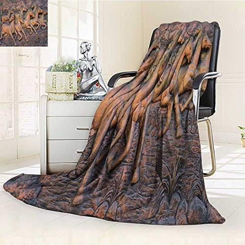 Homesonne Luminous Microfiber Throw Blanket low relief cement thai style handcraft of horse on wall Glow In The Dark Constellation Blanket, Soft And Durable Polyester(60''x 50'') by Homesonne