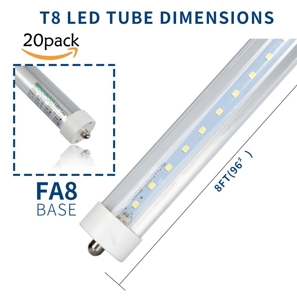 Zoopod T8 8FT LED Light Tube 36W(90W equivalent), 6500K, 3600 Lumen Brightness, Dual-ended Power, Energy Saving Fluorescent Tube Replacement,Milky Clear Cover (20pcs, clear cover)