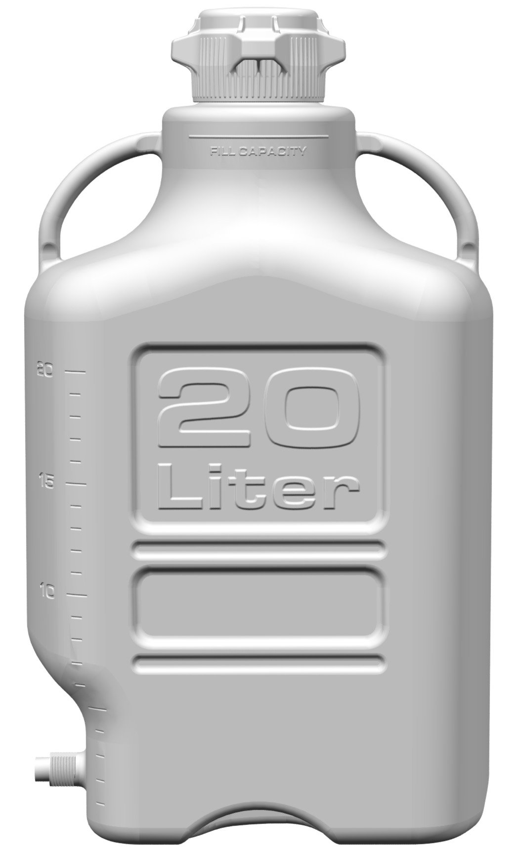 EZgrip 20L (5 Gal) HDPE Space Saving Carboy with Leakproof Spigot, 83mm (83B) VersaCap and 26.5L Max Capacity