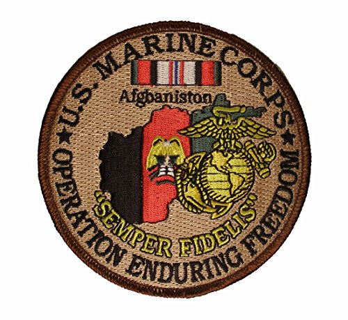 U.S. MARINE CORPS Operation Enduring Freedom OEF Veteran in Afghanistan OEF Service Ribbon Round Patch - Veteran Owned Business