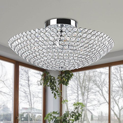 Leila 3-light Chrome Bowl-shaped Crystal Flush Mount