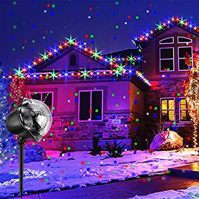 Christmas Projector Lights, BOSWEE Rotating IP65 Waterproof Sparkling Landscape Projection Light for Decoration Lighting with Remote Control,It is widely Used in Christmas Halloween Holiday Party