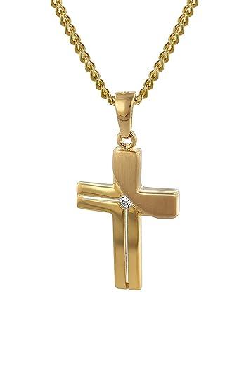 trendor Mother of Pearl Heart with 8K Gold Cross Pendant 35742 CESXafHe