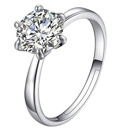 Dosige 1pcs Anillo femenino silver forma de la flor ajustable abierto,para compromiso, matrimonio
