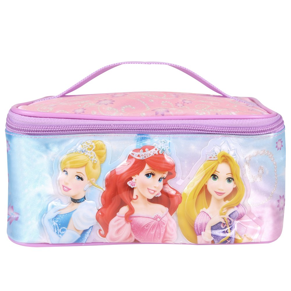 Disney Princesses Beauty Case for Girls - Rectangular Toiletry Bag for travel with Ariel Cinderella Rapunzel print - Cosmetic Vanity Bag for make-up and toys - Pink - 21x11x14 cm - Perletti 13605