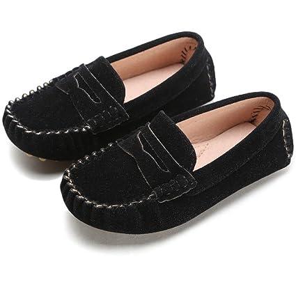 Battle Men Little Kids Penny Loafers Flat Heel Slip On Toddlers Shoes For Boys & Girls Causal Comfortable (Color : Black, Size : 1 M US Little Kid)