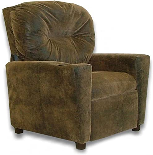 Dozydotes Cup Holder Leather Like Kid s Recliner Upholstery Distressed Brown Bomber Leather Like