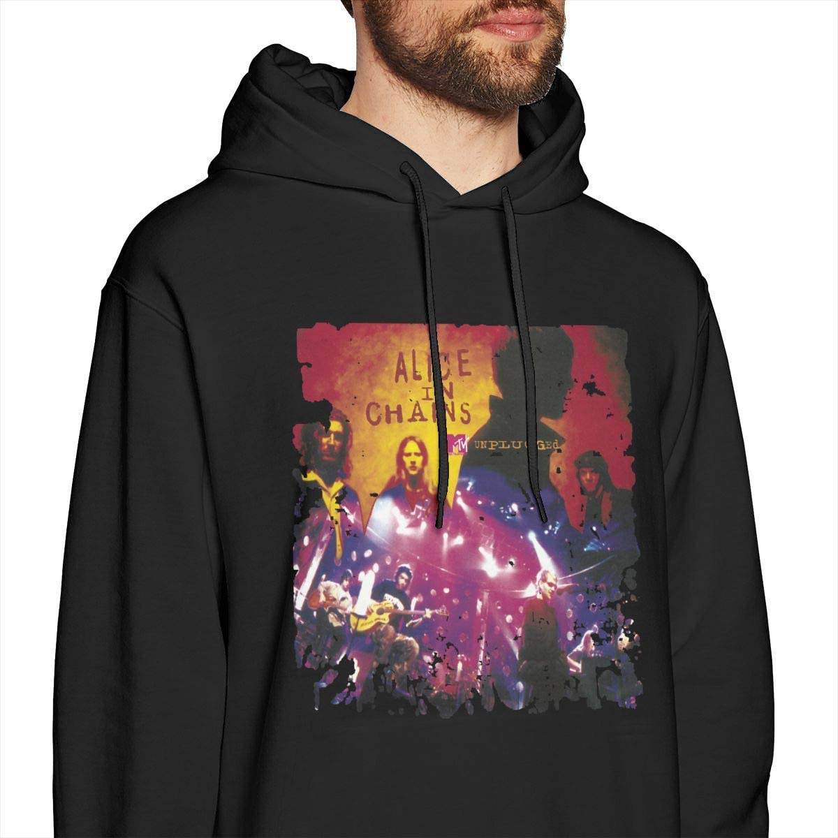 JamieBrown Mens Alice-in-Chains-Unplugged Sweaters Black with Mens Sweatshirts