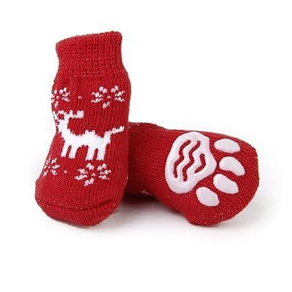 LEORX Calcetines del animal doméstico de la Navidad con renos estilo impresiones de la pata de