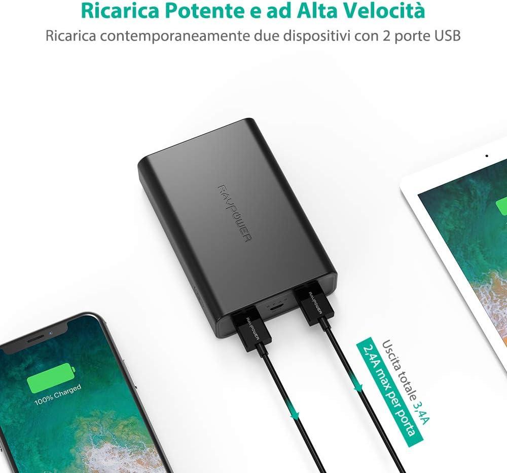 Caricabatteria Portatile per Smartphone e Tablet RAVPower Caricatore Portatile 10000mAh Power Bank Batteria Compatta da 10000 con Potenza 3.4A 2 Porte USB iSmart 2.0 Elevata velocit/à Ricarica