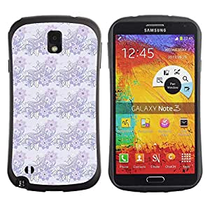 DesignCase Premium TPU / ABS Hybrid Back Case Cover Samsung Galaxy Note 3 III ( light butterfly )