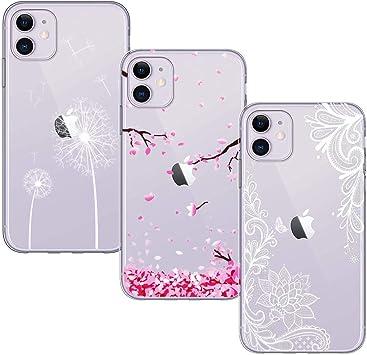 Yoowei [3-Pack] Funda para iPhone 11, Transparente con Dibujos Ultra Fino Suave TPU Silicona Protector Carcasa para iPhone 11 (Flor de Cerezo + Flor Blanca + Diente de León): Amazon.es: Electrónica
