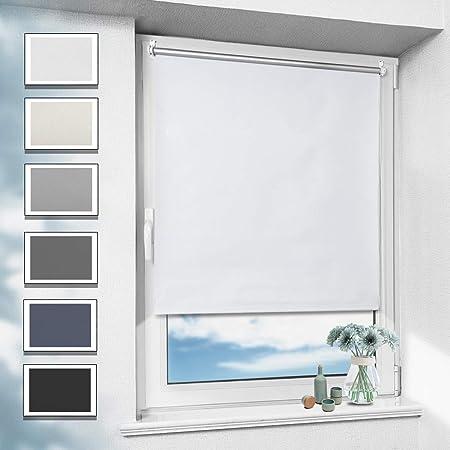 OUBO Estore Enrollable Opaco 70 x 170 cm Blanco Revestimiento térmico Plata Cortina para Ventanas- Sin perforación Klemmfix TRACERY Décor: Amazon.es: Hogar