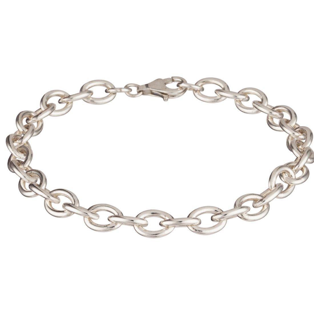 b0f29225b434e Silverly Men's .925 Sterling Silver Rolo 7.5 mm Link Chain Belcher ...