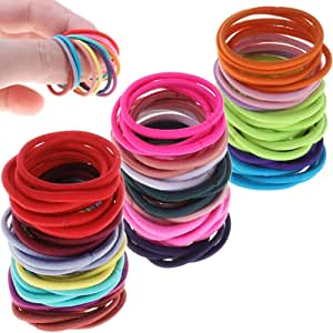 Kids Hair Ties, Anezus 250 Pcs 2mm Mix Colors Elastics Small Hair Ties Hair Bands Accessories for Girls