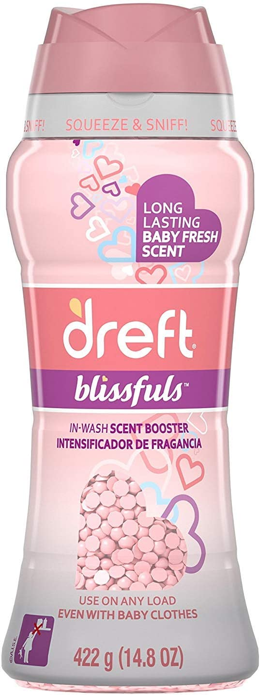 Dreft Blissfuls in-Wash Scent Booster Beads, Baby Fresh, 14.8 Ounce (2 Bottle (14.8 Ounces))