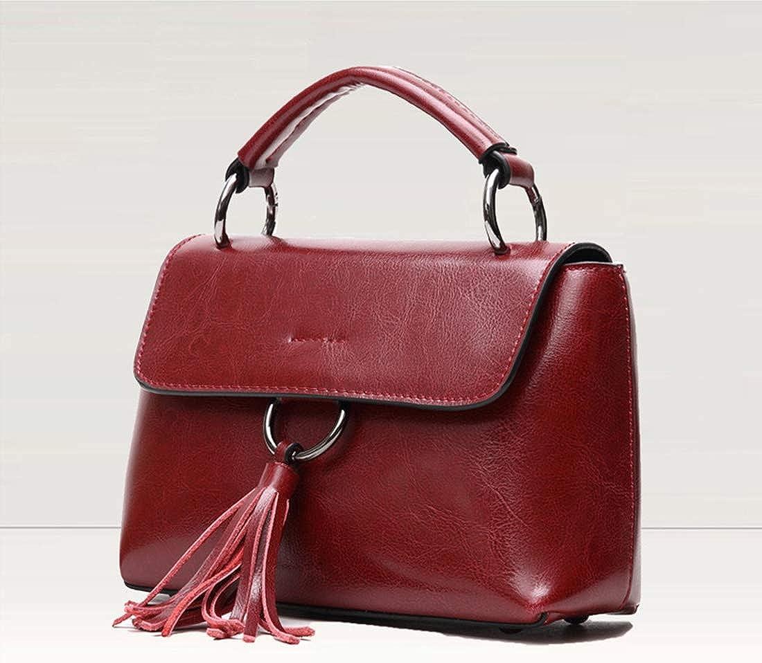 AIYAMAYA Genuine Leather Women Top Handle Satchel Handbag Tote Shoulder Bag Purse Crossbody Bag With Flower Decoration