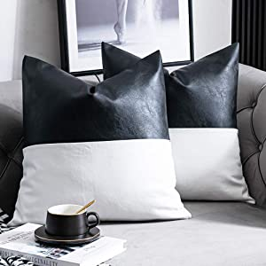 DEZENE Faux Leather with 100% Cotton Decorative Throw Pillow Covers for Couch Bed Sofa, Set of 2 18 x 18 inch Modern Home Decor Accent Square Bedroom Living Room Cushion Cases Cognac, Black and White