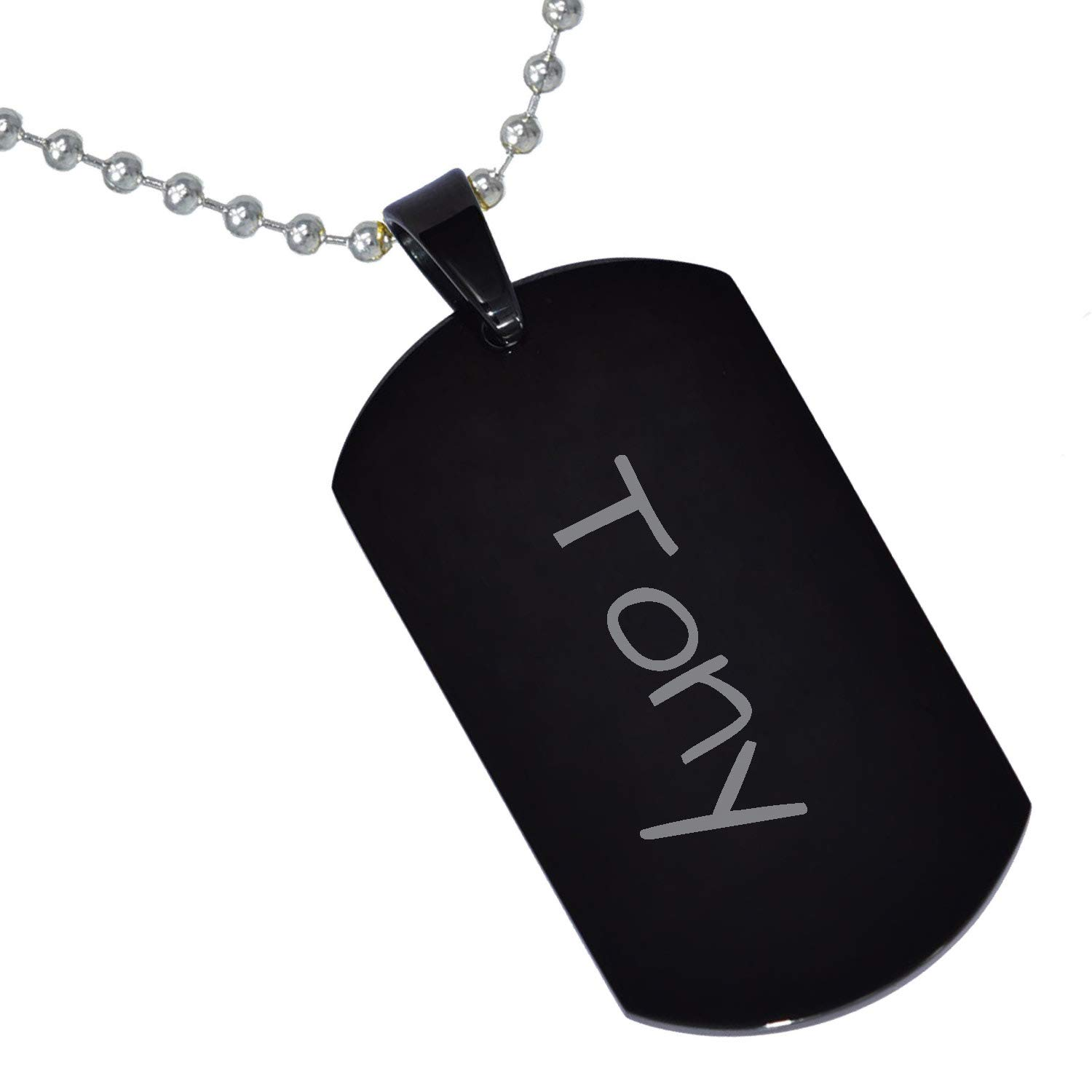 Stainless Steel Silver Gold Black Rose Gold Color Baby Name Tony Engraved Personalized Gifts For Son Daughter Boyfriend Girlfriend Initial Customizable Pendant Necklace Dog Tags 24 Ball Chain