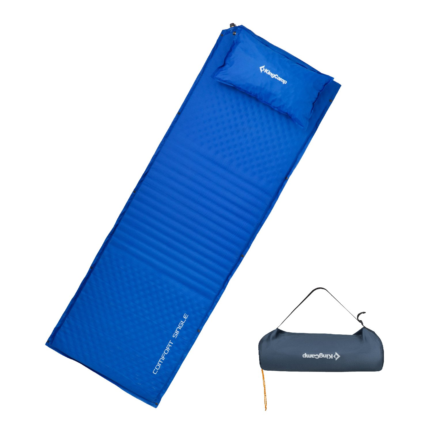 KingCamp Triple Zone XL Comfort Spliced Self-Inflating Portable Sleeping Pad Mattress 4 cm Thick with Free Oversize Self-Inflating Pillow
