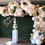 Balloon Garland Arch Kit, White Gold Confetti Balloons 98 PCS, Artificial Palm Leaves 6 PCS, Balloons for Parties, Party Wedding Birthday Balloons Decorations, Baby Shower Decorations for Girl Boy