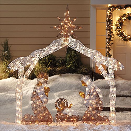 Outdoor Lighted White Nativity Set - 2