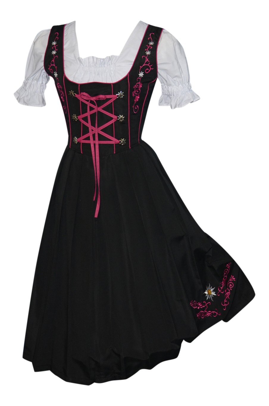 3-Piece Long German Party Oktoberfest Dirndl Dress Black & Pink (14) by Edelweiss Creek (Image #2)