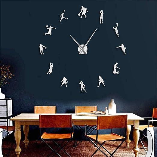 Guokee 1 Pieza DIY Gran Reloj de Pared de Baloncesto Slam Dunk ...