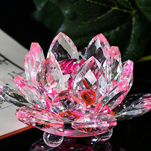 (AMOFINY Home Decor Lotus Crystal Glass Figure Paperweight Ornament Feng Shui Decoration Collection)