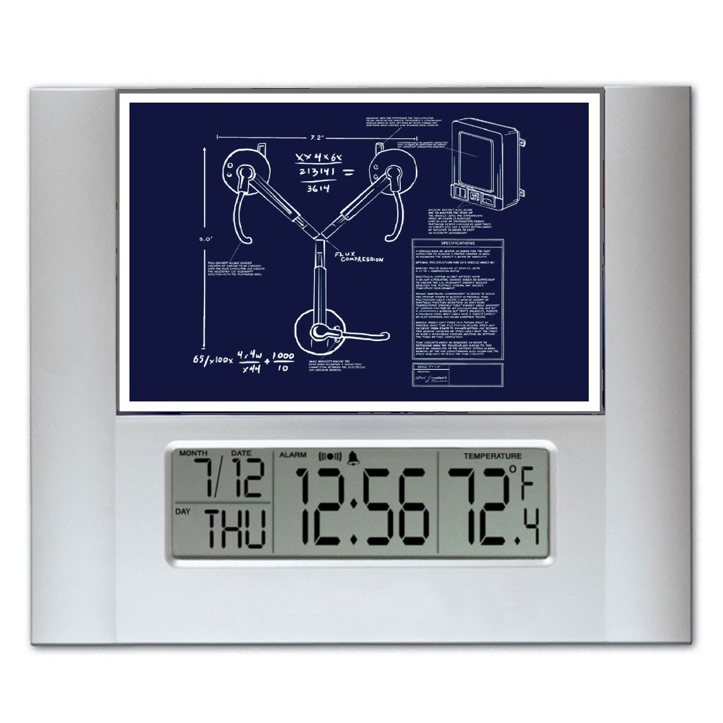 Back to the future flux capacitor blueprint plans digital wall or back to the future flux capacitor blueprint plans digital wall or desk clock with temperature and alarm amazon kitchen home malvernweather Image collections