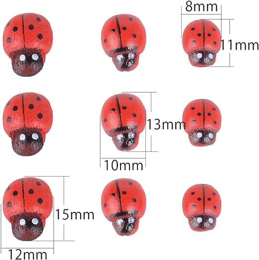 25 mariquita de madera para decorar escarabajo de 13 x 9 mm de scrapbooking DIY *.