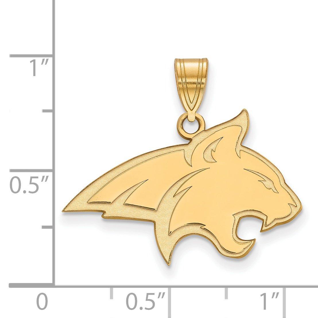 10k Yellow Gold Montana State University Bobcats School Mascot Pendant 18x25mm