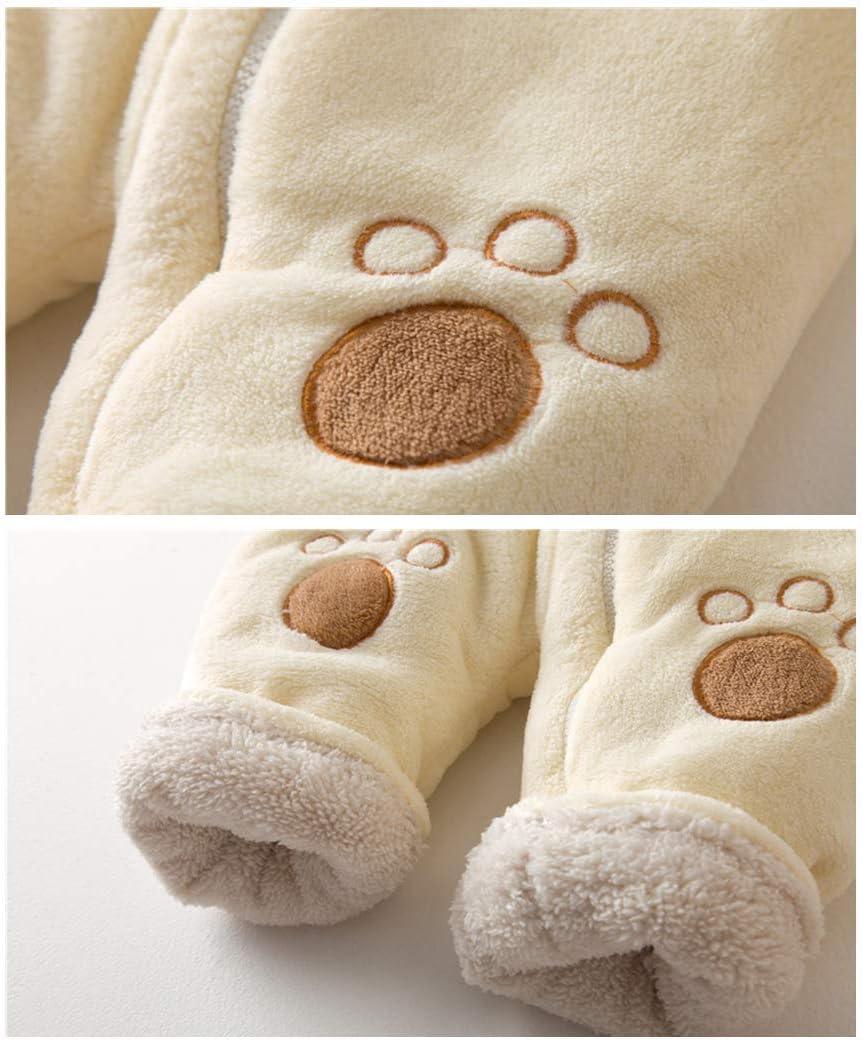 Baby Winter Romper Fleece Jumpsuit Hooded Snowsuit Warm Sleepsuit Cute Bear Pyjamas Thicken Bodysuits
