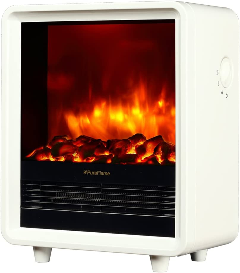 PuraFlame 12 Inches Octavia Portable Electric Fireplace Heater White 1500W