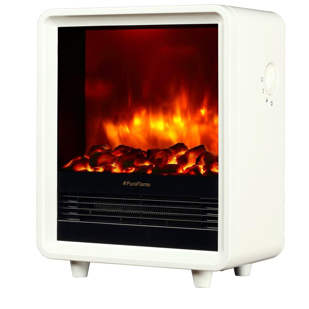 PuraFlame 12'' Octavia Portable Electric Fireplace Heater, 1500W, White