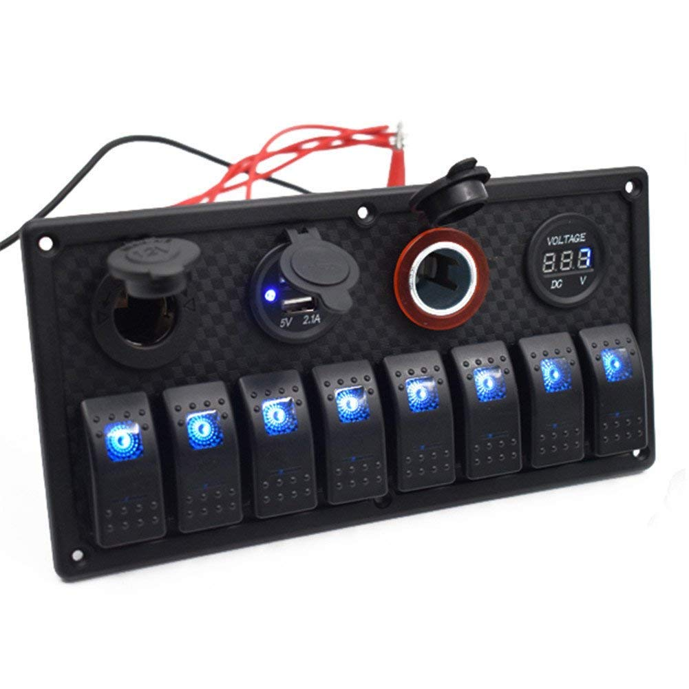spareflying 6/8 Gang Blue LED Rocker Switch Panel CircuitI Breaker Overload Protected12V/24V DC USB Charger RV Car Boat Marine
