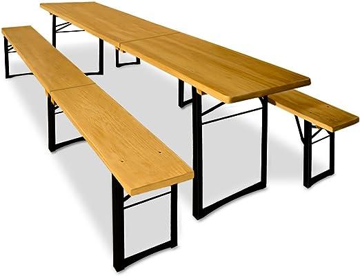 Deuba Conjunto de 1 mesa y 2 bancos 220cm mesa cervecera plegable ...