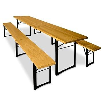 Ensemble Table Et Bancs 3 Pieds Pliants 220 Cm Pour Jardin Terrasse